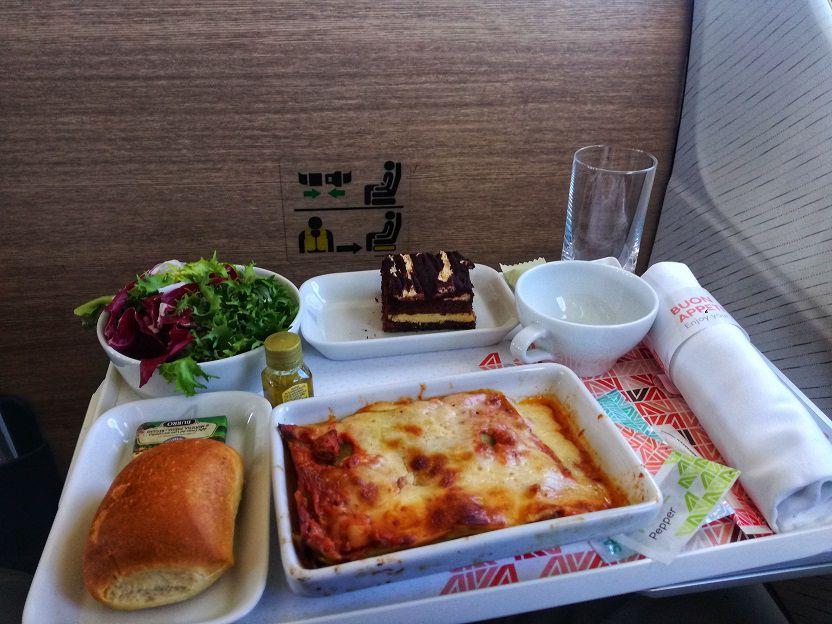 Business Class Lasagna Alitalia A320